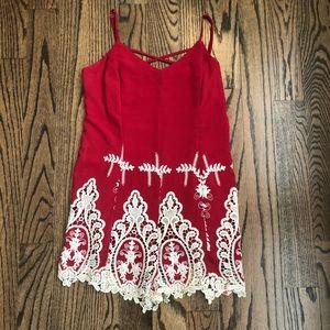 Anthropologie Blush lace romper